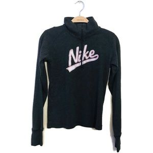 Nike Gray Quarter Zip Pullover Knit Sweatshirt M